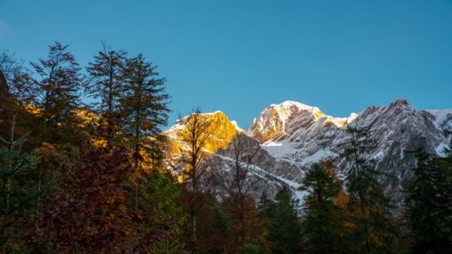 T/L 8K shot of Kamnik-Savinja Alps at sunrise