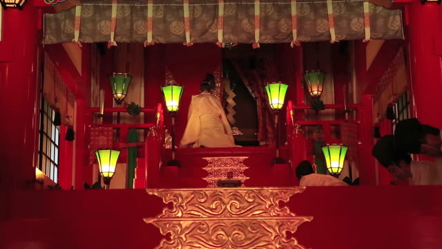 ms shot of kannushi and miko work for tsuwano shinto shrine at sengu ceremony, removal of shrine / tsuwano, shimane prefecture, japan  - shimane prefecture stock videos & royalty-free footage