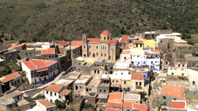 ms aerial ds shot of kastro and small village volissos in chios island / chios, north aegean islands, greece - rhodes dodecanese islands stock videos & royalty-free footage