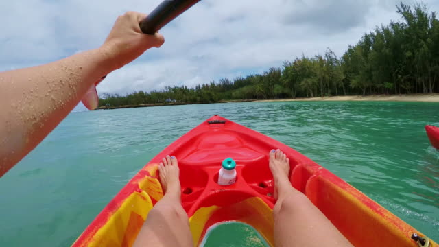pov shot of kayaker relaxing and slowly paddling - turtle bay hawaii stock videos and b-roll footage