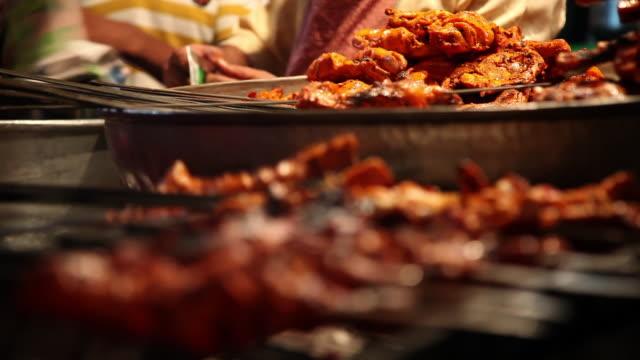 cu r/f shot of kebabs at food stall / delhi, delhi, india - kebab stock videos and b-roll footage