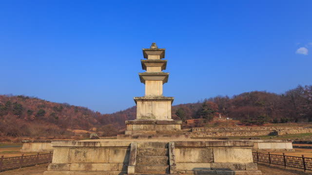shot of keodonsajisamcheungseoktap stone pagoda(korea treasure 750) at keodonsaji(korea historic place 168) and clear sky - pagoda stock videos and b-roll footage