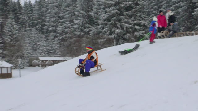 WS TS Shot of kids sledding on snow in winter with snow falling / Erbeskopf, Hunsruck, Rhineland Palatinate, Germany
