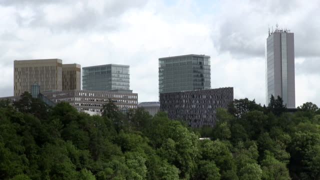 ms shot of kirchberg / luxembourg - luxembourg benelux stock videos & royalty-free footage