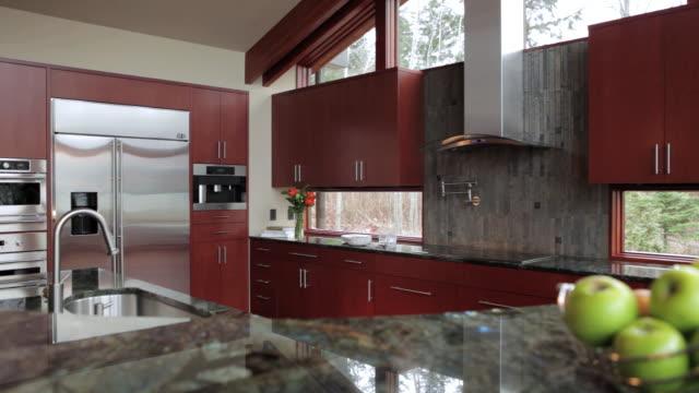 MS PAN Shot of kitchen in modern home / Lake Oswego, Oregon, United States