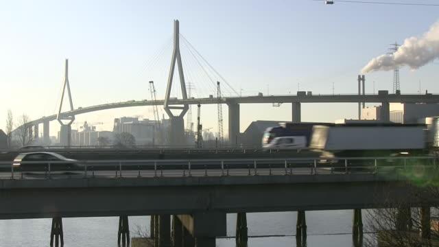 MS Shot of Kohlbrand Bridge / Hamburg, Germany