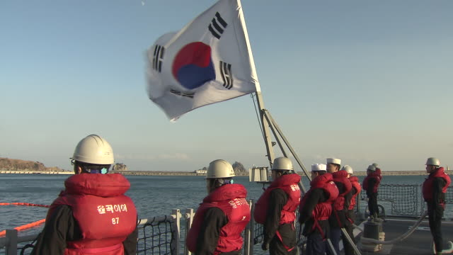 shot of korea navy with south korean flag waving - military stock videos & royalty-free footage