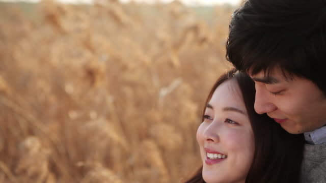 cu pan shot of korean couple sitting among the reeds / seoul, south korea - korean ethnicity stock videos & royalty-free footage