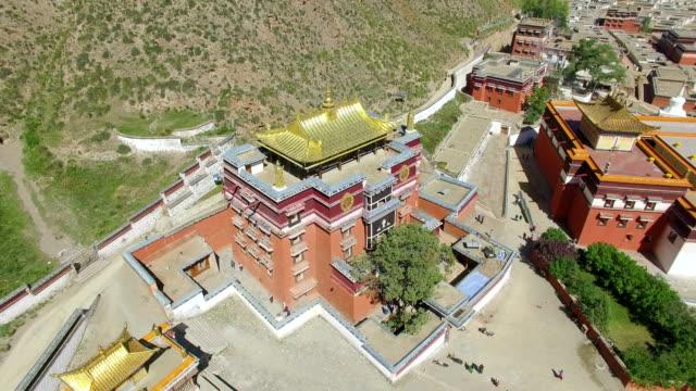 WS AERIAL shot of Labrang Lamasery/Gansu, China