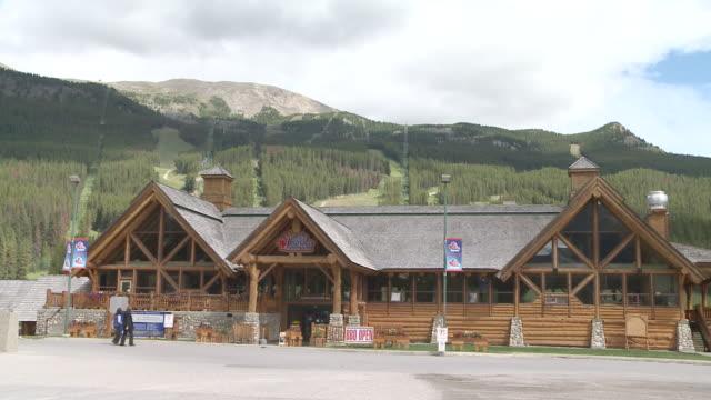 WS Shot of Lake Louise skiing resort in summer / Banff National Park, Alberta, Canada