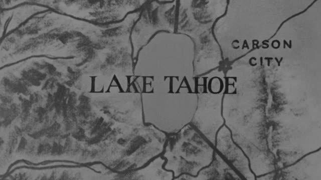 MS HA POV ZI Shot of Lake Tahoe on map
