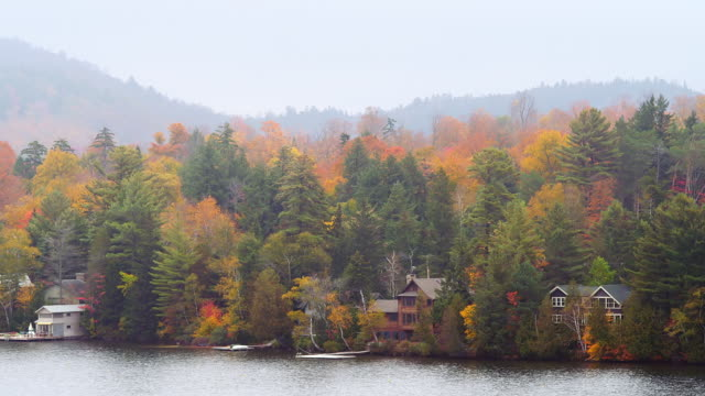 ms shot of lake with houses along shore among foliage covering mountain / lake placid, new york, united states - lake placid town stock videos and b-roll footage