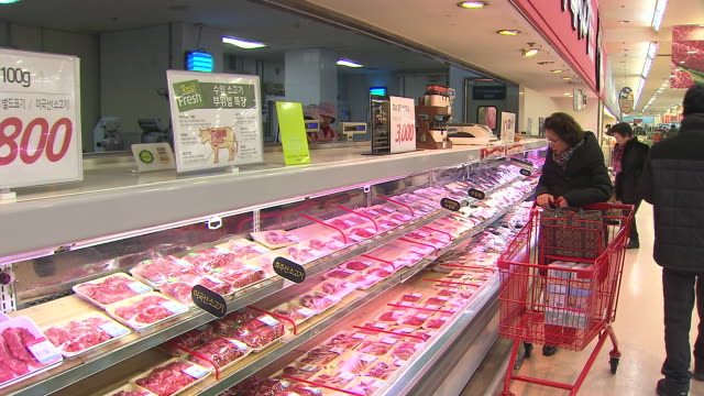Shot of lamb packages in Butcher's shop of Supermarket