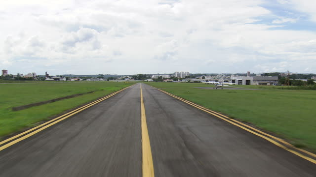 MS AERIAL Shot of landing off / Parana, Brazil