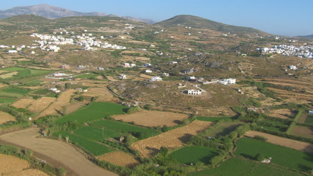MS AERIAL Shot of landscape and city of naxos / Naxos, Cyclades, Greece