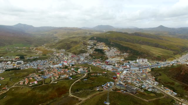 AERIAL shot of Langmusi town,Gansu,China.
