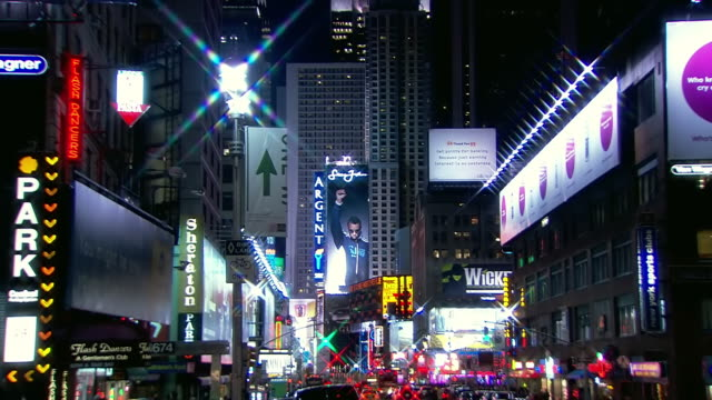 WS Shot of Large advertisements in Times Square / New York, United States