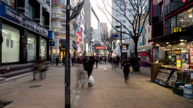 Shot of large group of people on the street in Myeong Dong