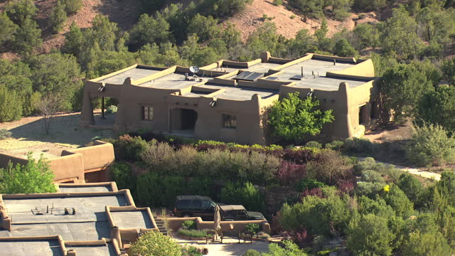 ms aerial shot of large house with courtyard / tesuque, new mexico, united states - puebloan peoples stock videos & royalty-free footage