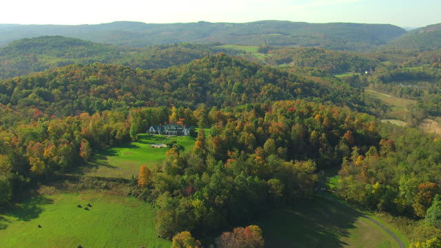 WS AERIAL TD Shot of large house with fall foliage in Westmoreland County / Pennsylvania, United States