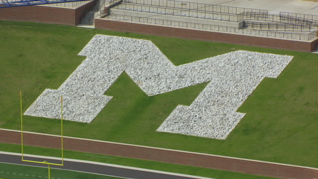 CU AERIAL TS ZO Shot of large M sign at Faurot Field at University of Missouri / Columbia, Missouri, United States