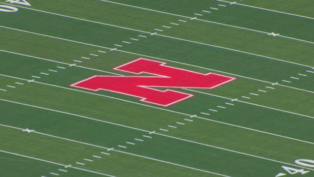 CU AERIAL TS Shot of Large N on field at University of Nebraska Memorial Stadium / Lincoln, Nebraska, United States