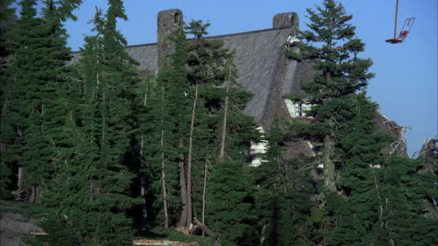 ms shot of large ski lodge surrounded by pine trees - ski lodge stock videos & royalty-free footage