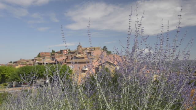 r/f shot of lavender and village of roussillon - luberon stock-videos und b-roll-filmmaterial