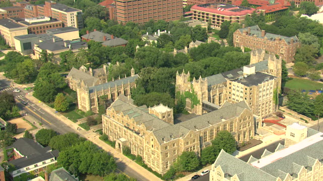 MS AERIAL Shot of law school and cathedral architecture on University of Michigan campus / Ann Arbor, Michigan, United States