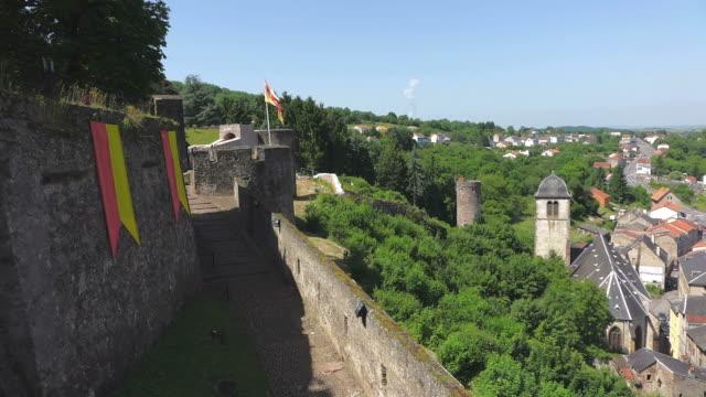 ms shot of le chateau des ducs de lorraine / sierck les bains, lorraine, france - lorraine stock-videos und b-roll-filmmaterial