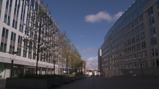 ms shot of leopold quarter and european parliament / brussels, belgium - regione di bruxelles capitale video stock e b–roll