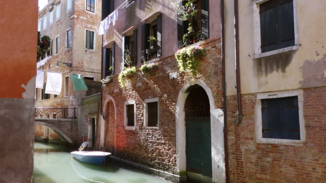 MS Shot of little canal in Castello / Venice, Veneto, Italy