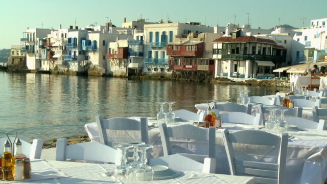 ms zo shot of little venice near beach / mykonos, cyclades, greece - mykonos stock videos and b-roll footage
