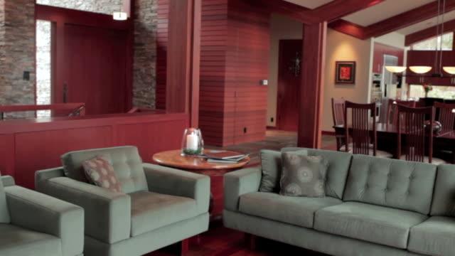 MS PAN Shot of living room in modern home / Lake Oswego, Oregon, United States