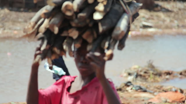 ms ts shot of local child walking with dry wood on head / freetown, sierra leone - firewood stock videos & royalty-free footage