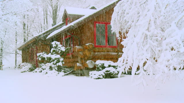 MS Shot of Log cabin in snow storm / Canada
