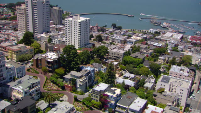 ms aerial zo shot of lombard street and fisherman's wharf with alcatraz island / san francisco, california, united states - lombard street san francisco stock videos & royalty-free footage
