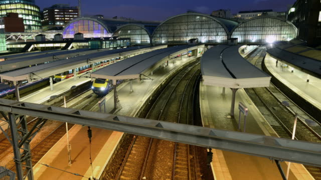 """MS PAN T/L Shot of London Paddington Station at night / London, Greater London, United Kingdom"""