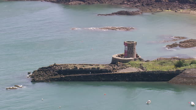 WS AERIAL ZI Shot of loop hole tower / Guernsey, Channel Isles