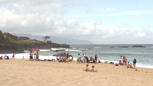 vídeos de stock e filmes b-roll de ms shot of lot of people siting on beach and waves crashing / oahu, hawaii, united states - wiese