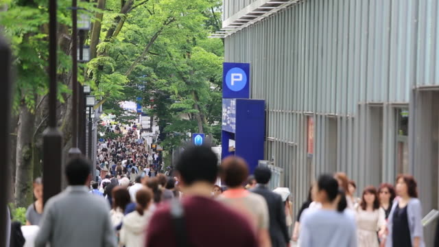 MS ZO Shot of lots of people walking in Omotesando / Shibuya, Tokyo, Japan