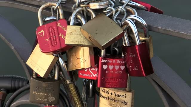 CU Shot of love locks at Eiserner Steg bridge / Frankfurt, Main, Hesse, Germany