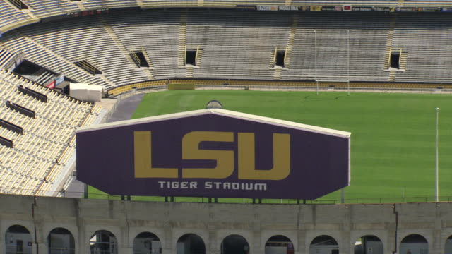 CU AERIAL Shot of LSU sign at tiger stadium / Baton Rouge, Louisiana, United States