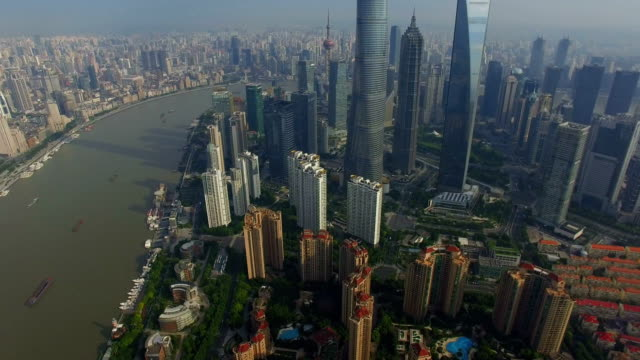 stockvideo's en b-roll-footage met t/l aerial shot of lujiazui business center/shanghai,china - groothoek