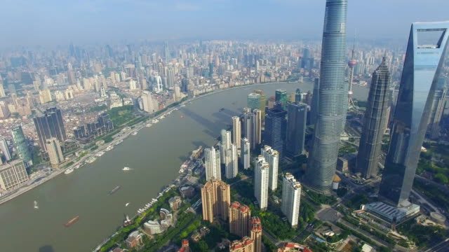 aerial shot of lujiazui business center/shanghai,china - 上海環球金融中心点の映像素材/bロール