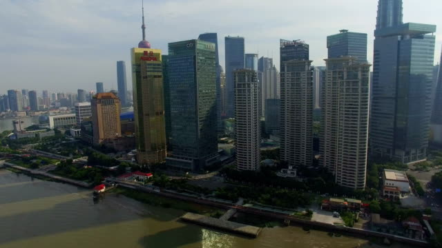 aerial shot of lujiazui business center/shanghai,china - shanghai world financial center stock videos & royalty-free footage