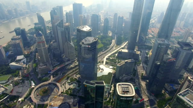 stockvideo's en b-roll-footage met aerial shot of lujiazui business center/shanghai,china - groothoek