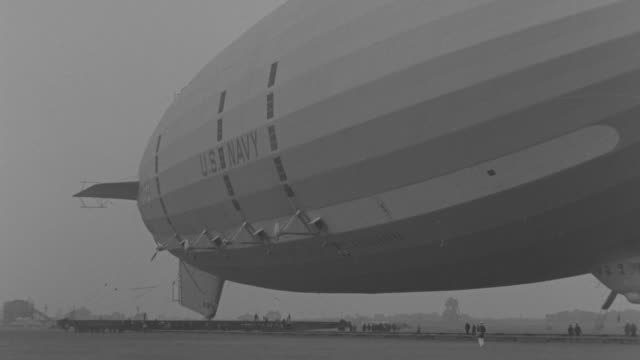 MS PAN Shot of Macon Zeppelin being attached to anchor