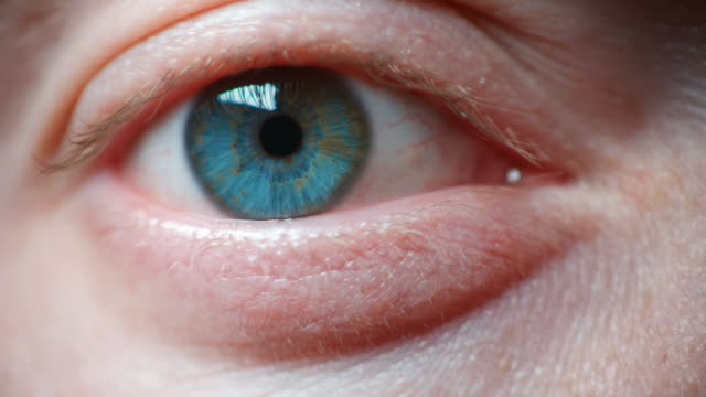 ecu slo mo shot of macro shot on blue eye / united kingdom - blue eyes stock videos and b-roll footage