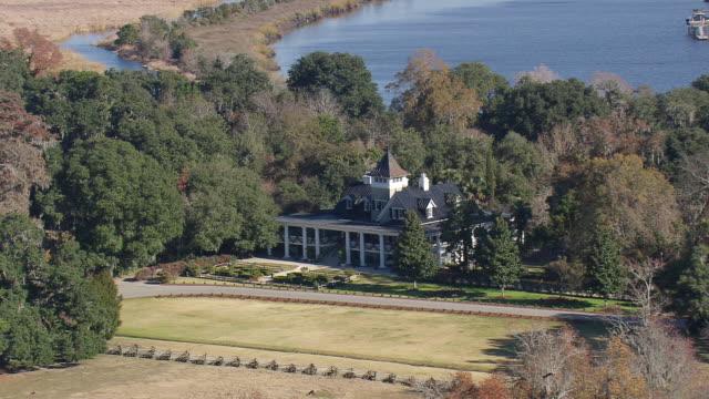 ms aerial shot of magnolia plantation and gardens / south carolina, united states - plantation stock videos & royalty-free footage